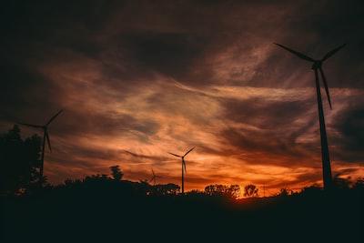 windmills on sunset background