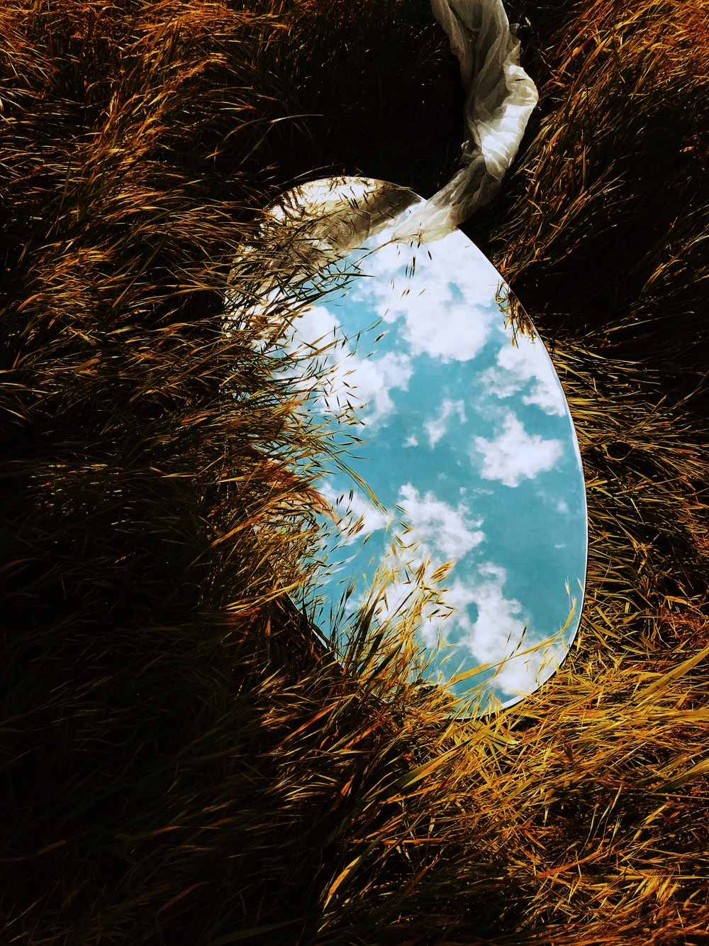 round mirror on grass