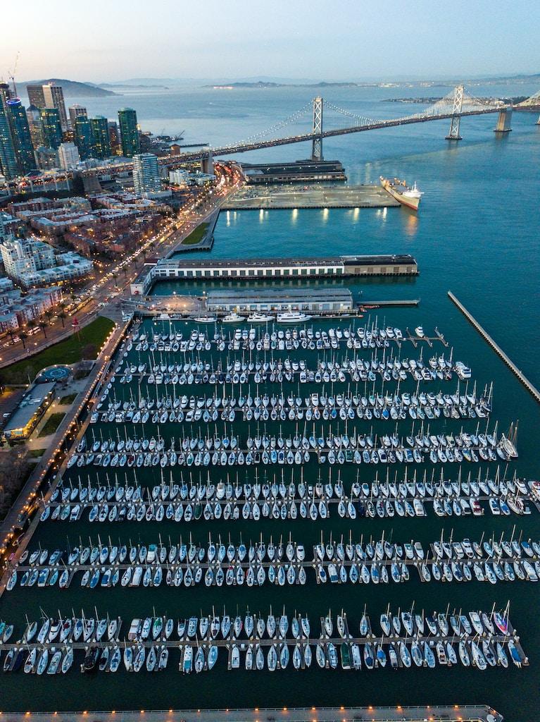 bird's eye view of pier