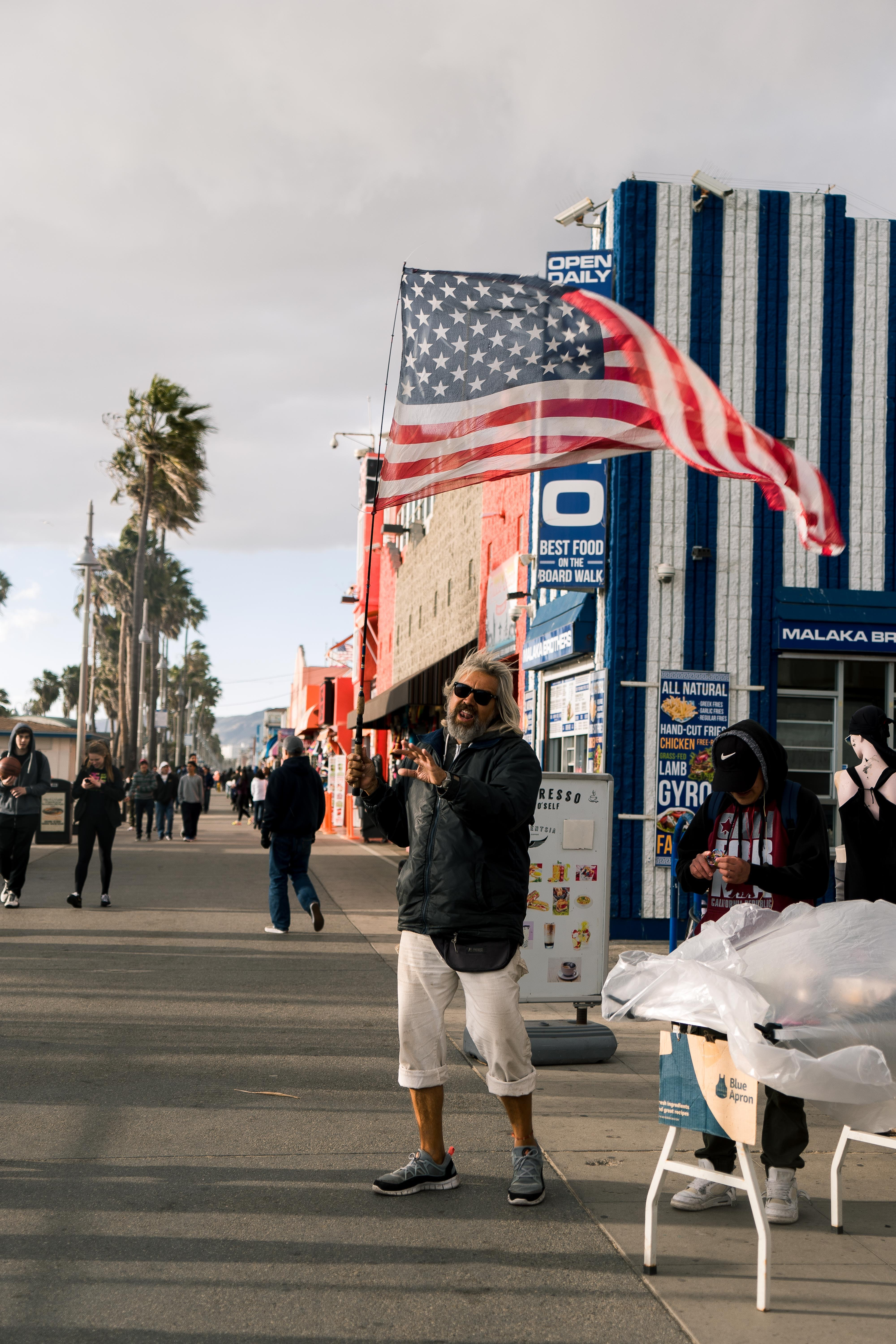 Santa Monica Presidents Day 2018, when you love America so much you take to the streets and sing to your people.