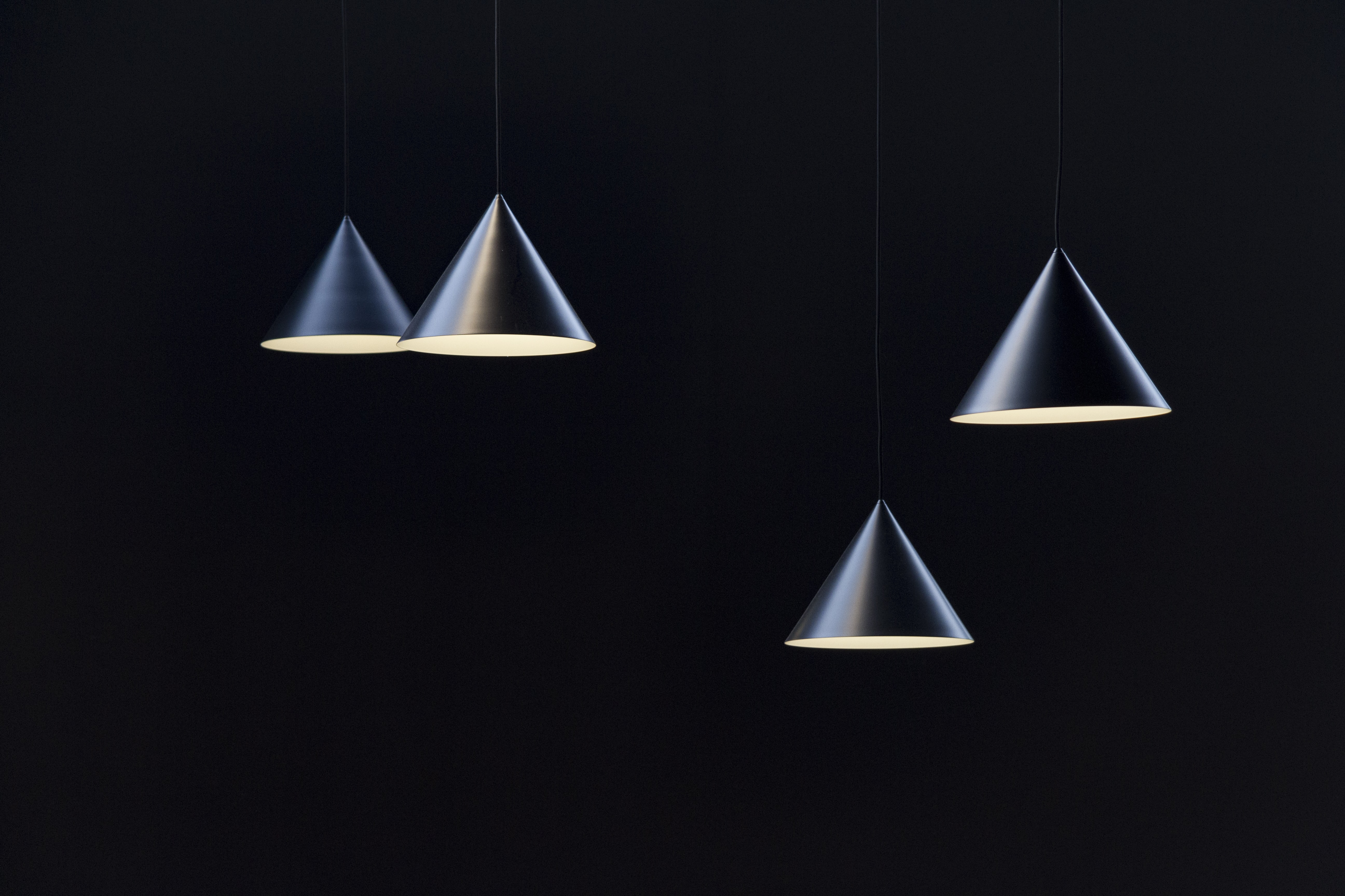 four round stainless steel pendant lamps