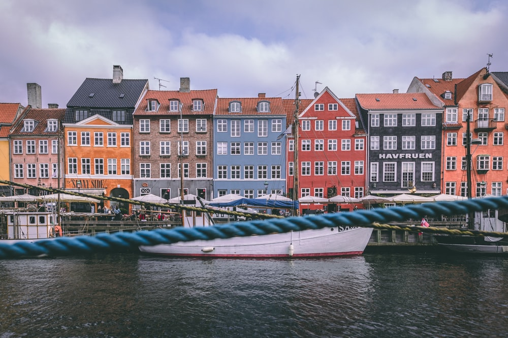 architectural photography of multicolored houses