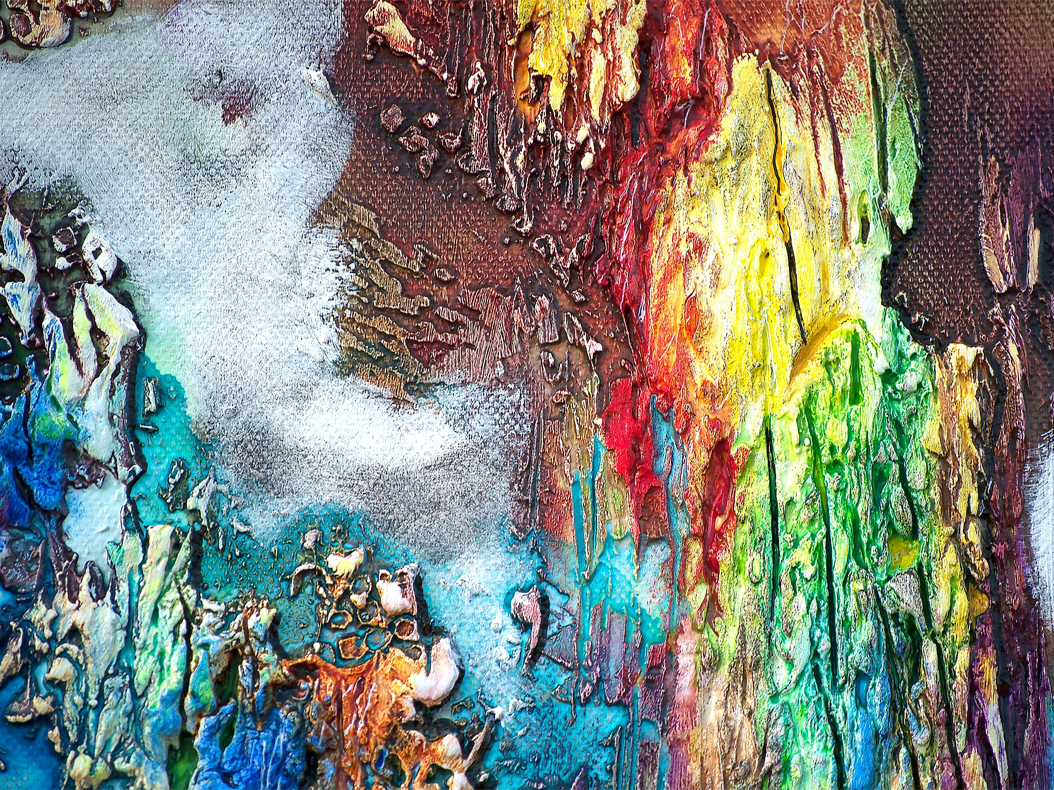 blue and multicolored abstract painting photo