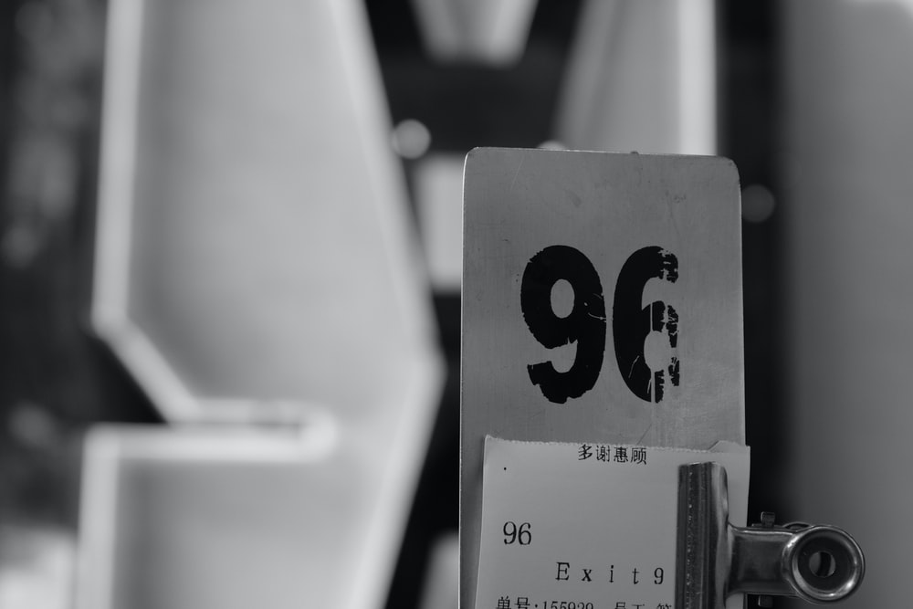 96 number plate with receipt and clip
