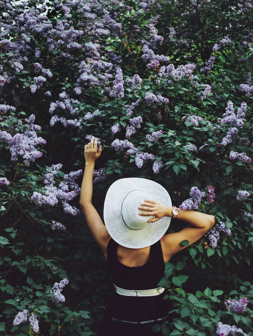 woman wearing black sleeveless top and holding hat and surrounded purple flowers