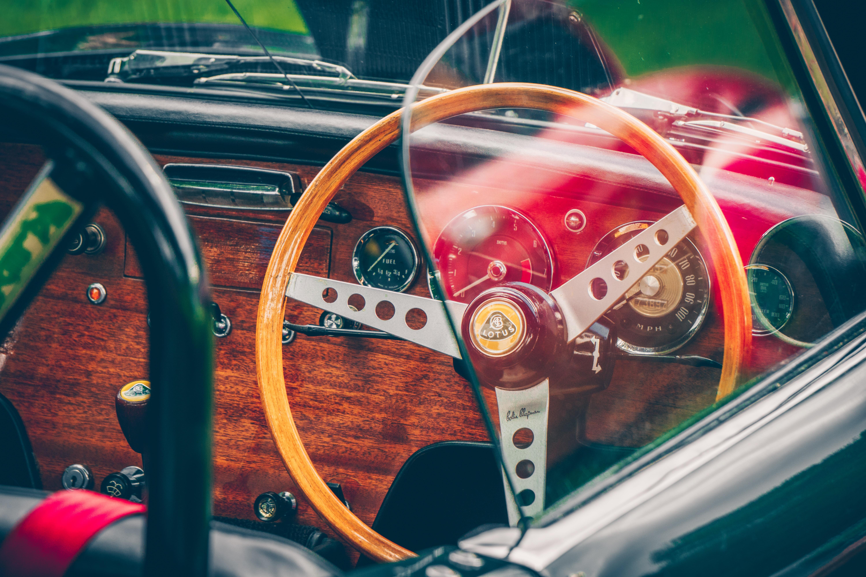 brown wooden vehicle dashboard