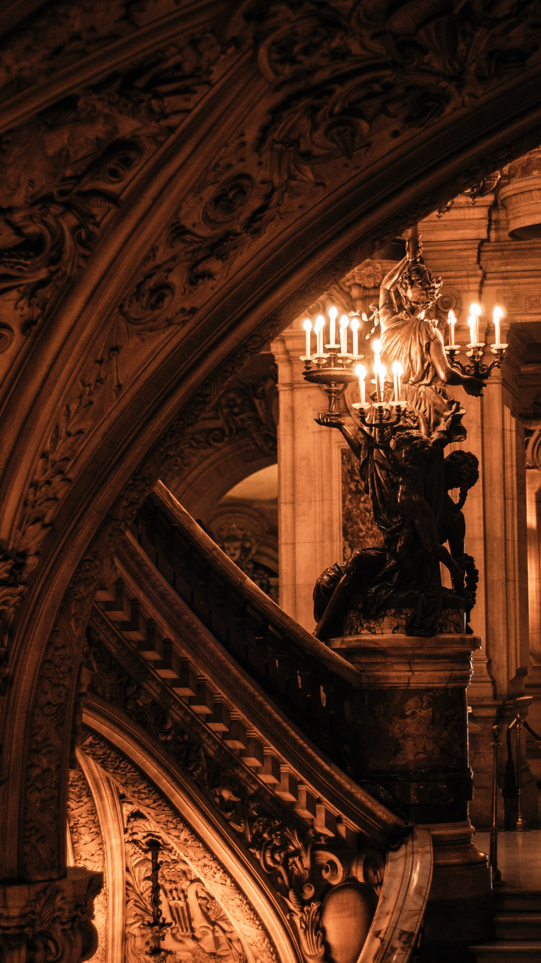 This was taken at the end of the tour guide inside Palais Garnier. A magic place, where you are static and the statues, paintings and chandeliers are moving.