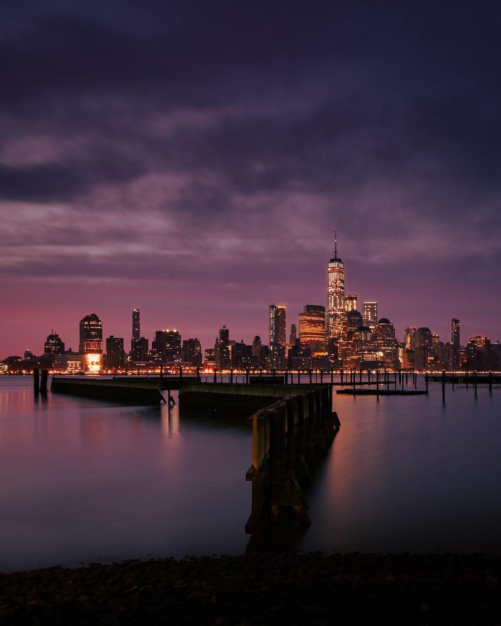 city skyline showing lights