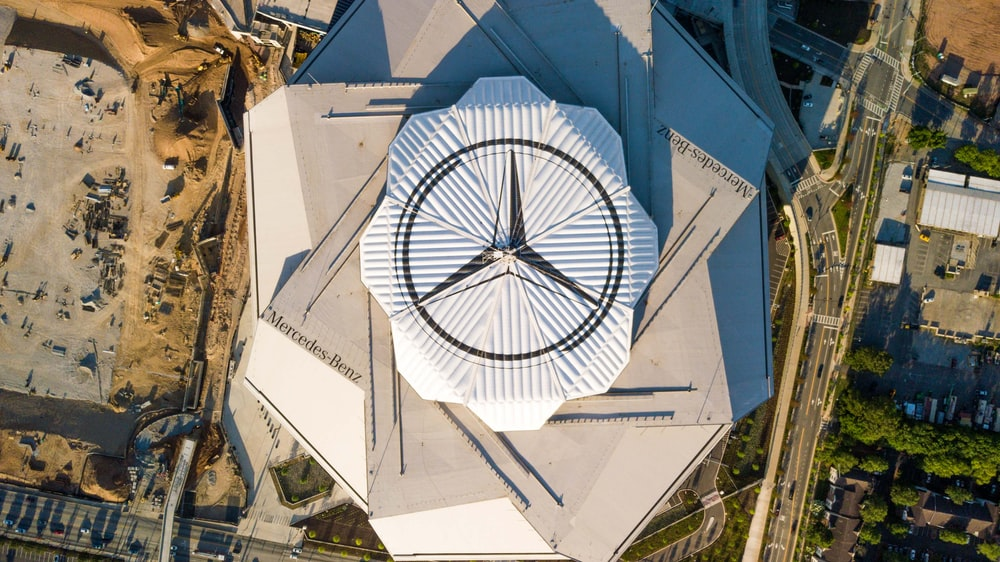 high-angle photo of Mercedes-Benz building