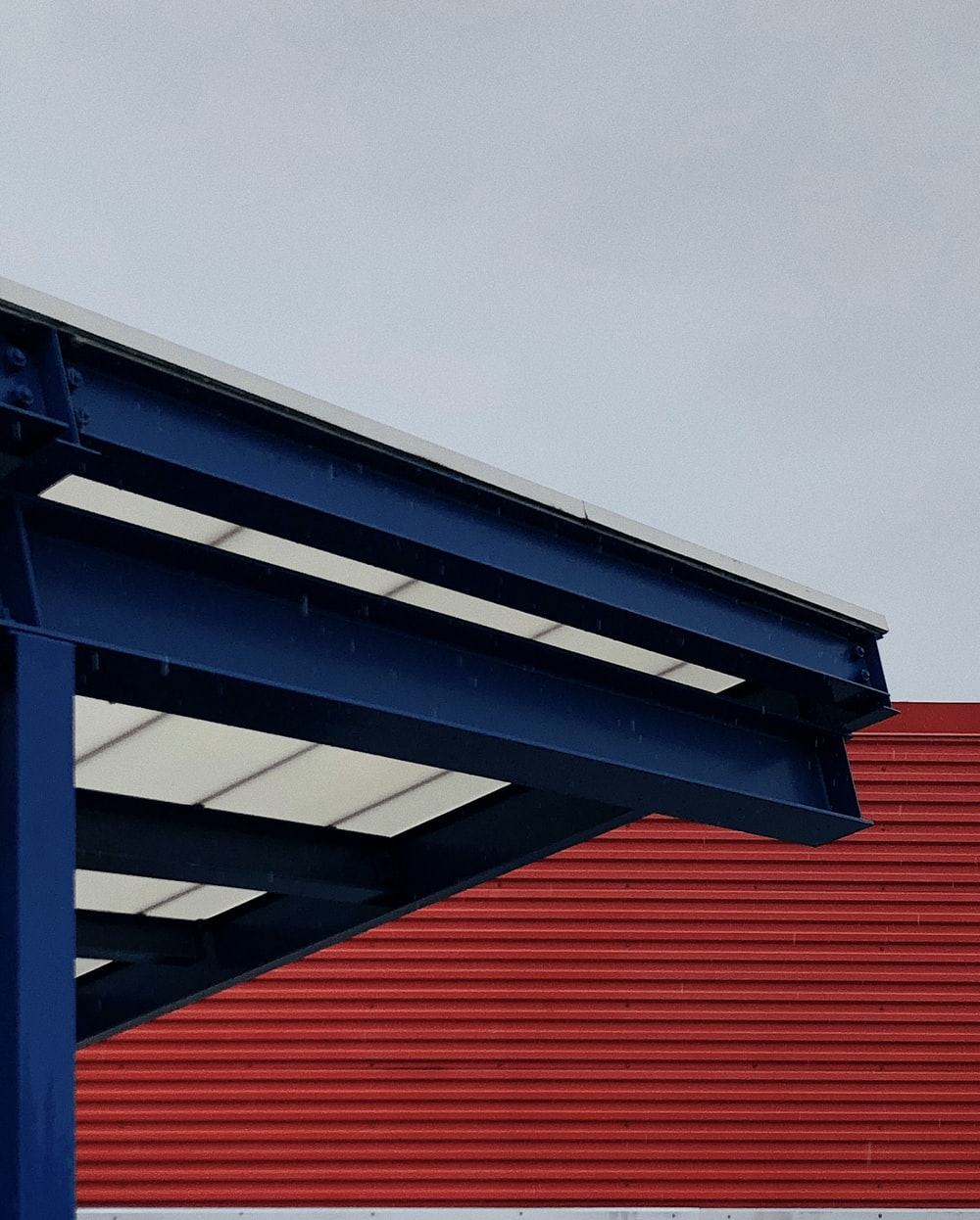 blue and white metal roof