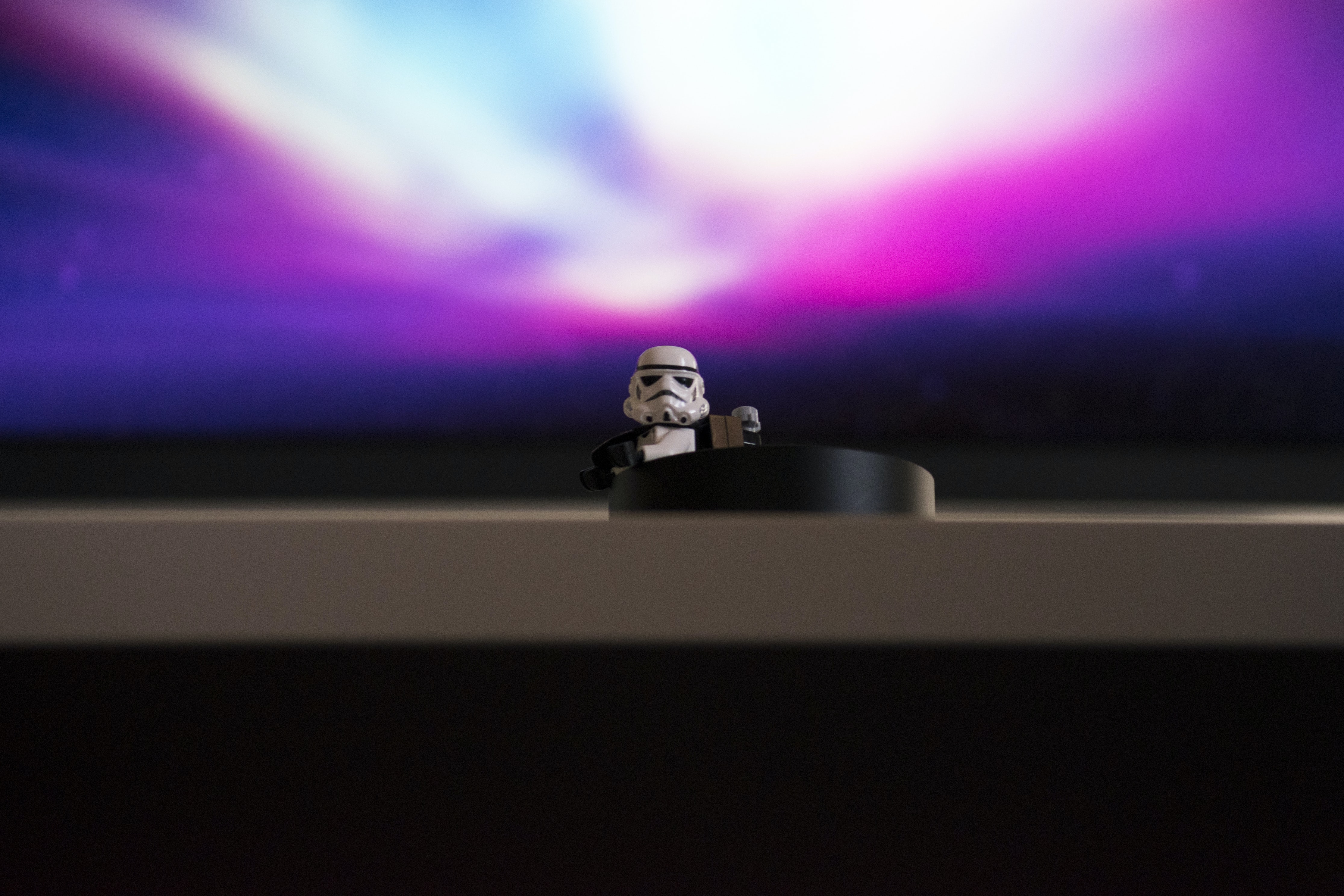 Star Wars Stormtrooper mini fig on desk