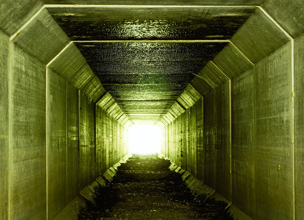 green painted wall tunnel