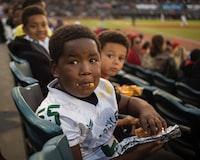 boy holding a food