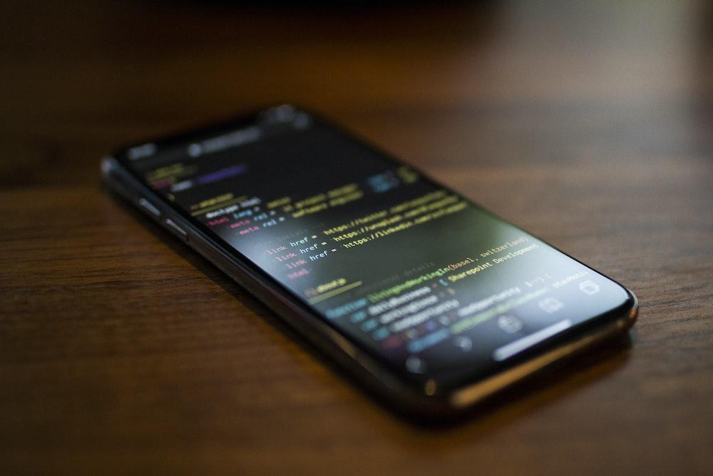 turned on black Android smartphone