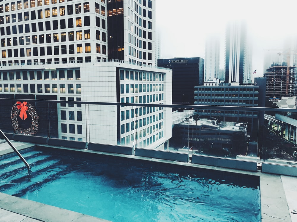 inground pool on terrace