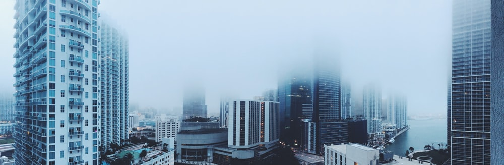 view of foggy buildings