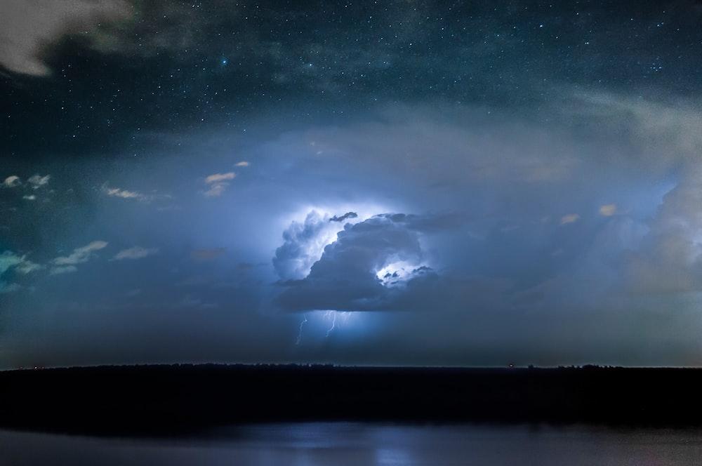 thunder lightning on clouds