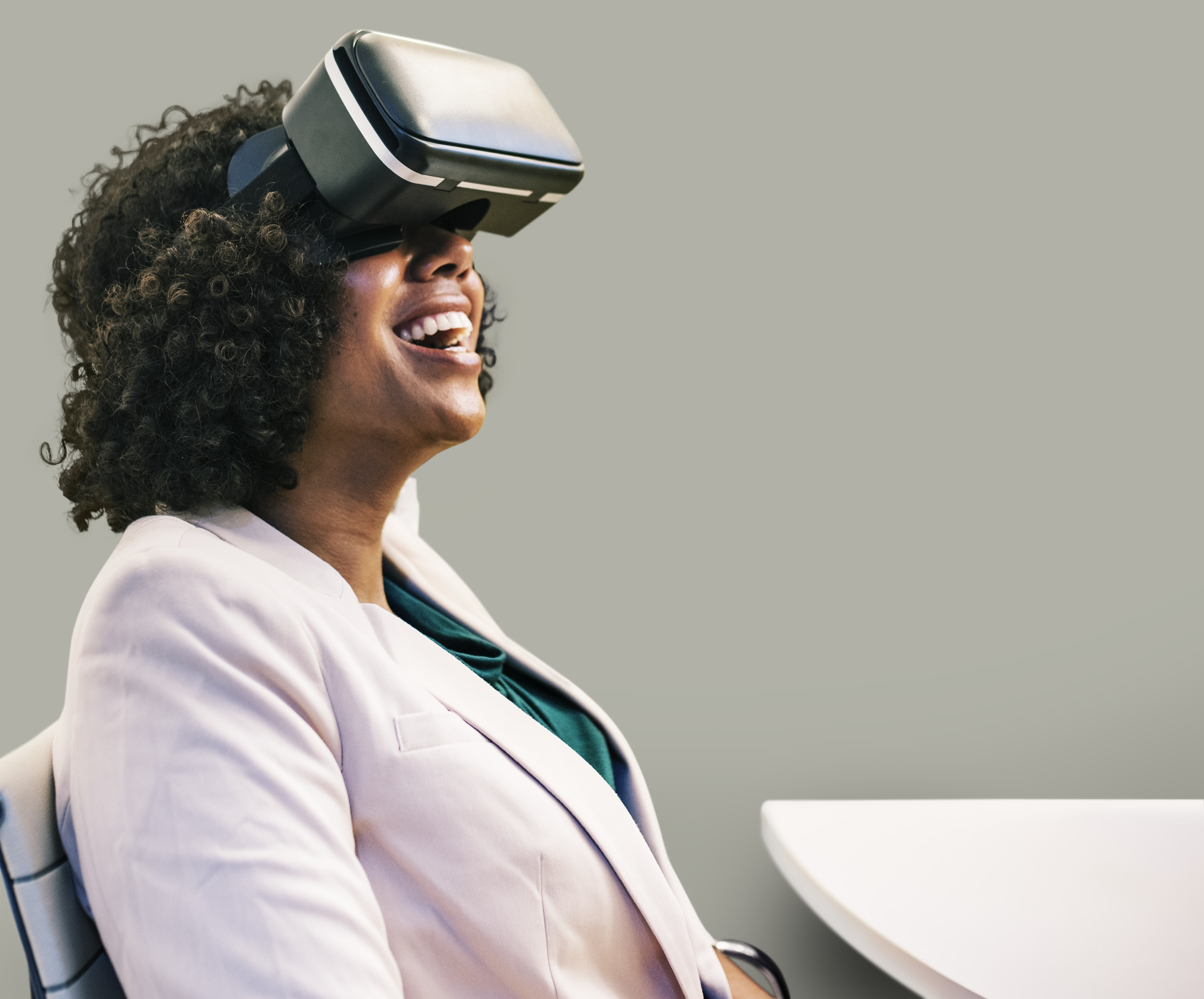 woman wearing VR goggles