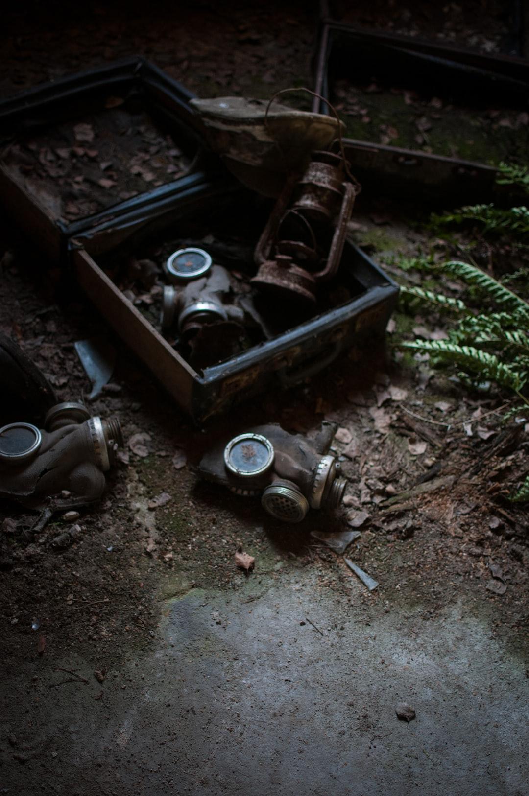 Some old gas masks found in an old Soviet tank barracks near Berlin