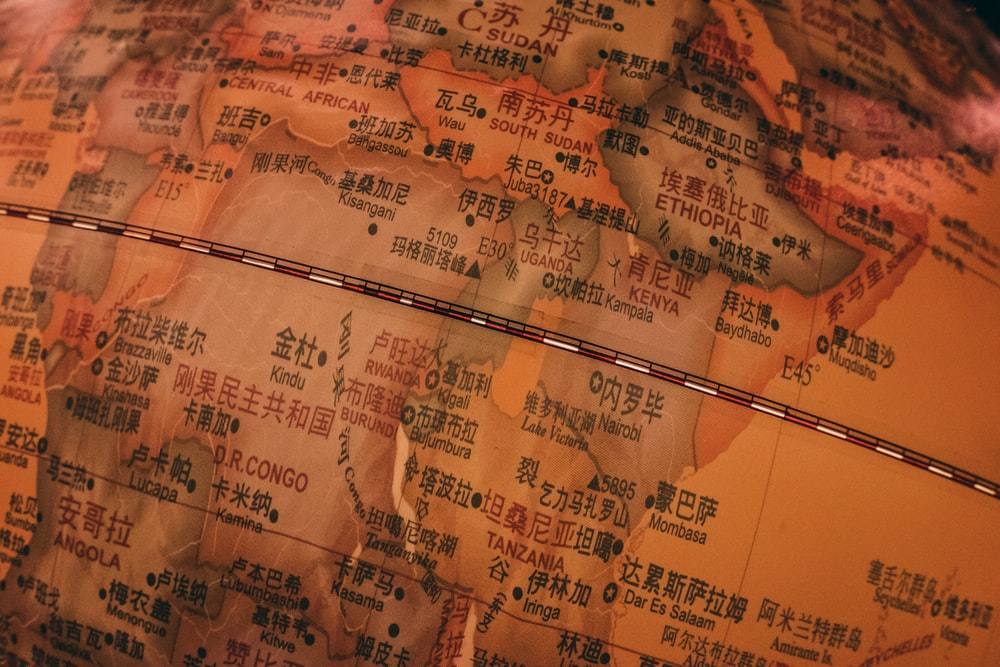 brown printer paper with map