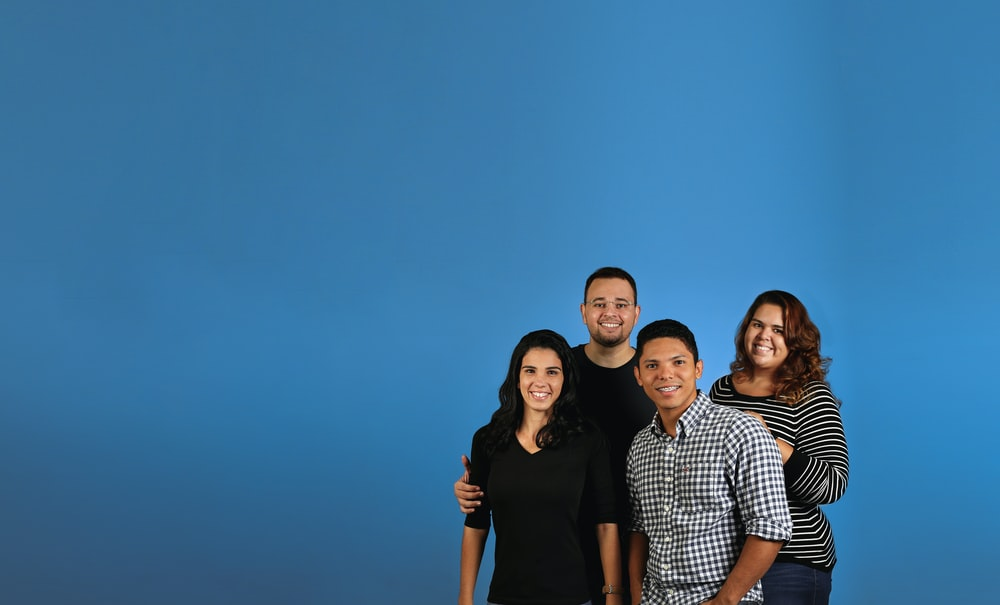 family photo with blue background