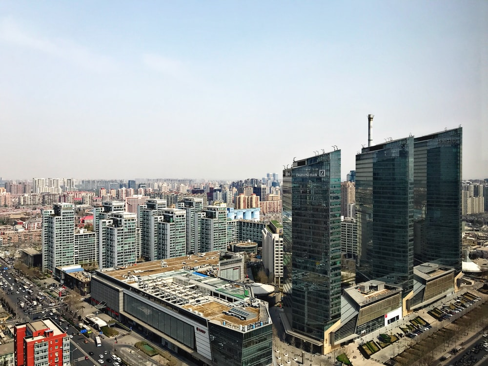 aerial views of concrete building