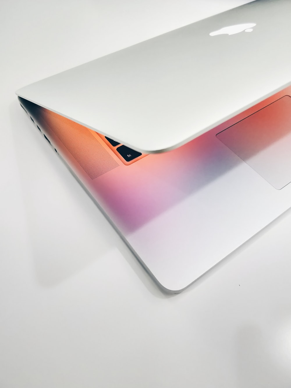 Apple MacBook air on wooden surface