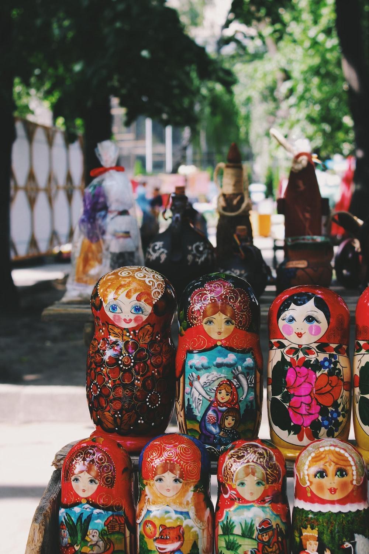 several matryoshka dolls on shelf