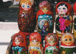 several matryoshka dolls on shelf