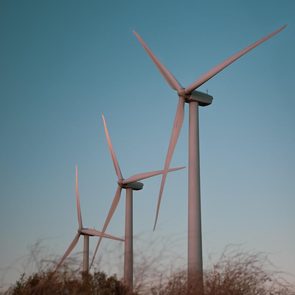 three gray windmills