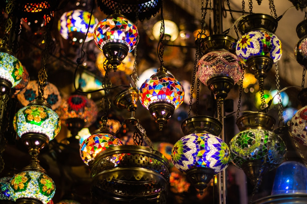 assorted light-up hanging lamps