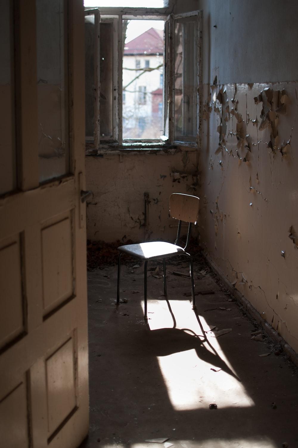empty brown steel chair