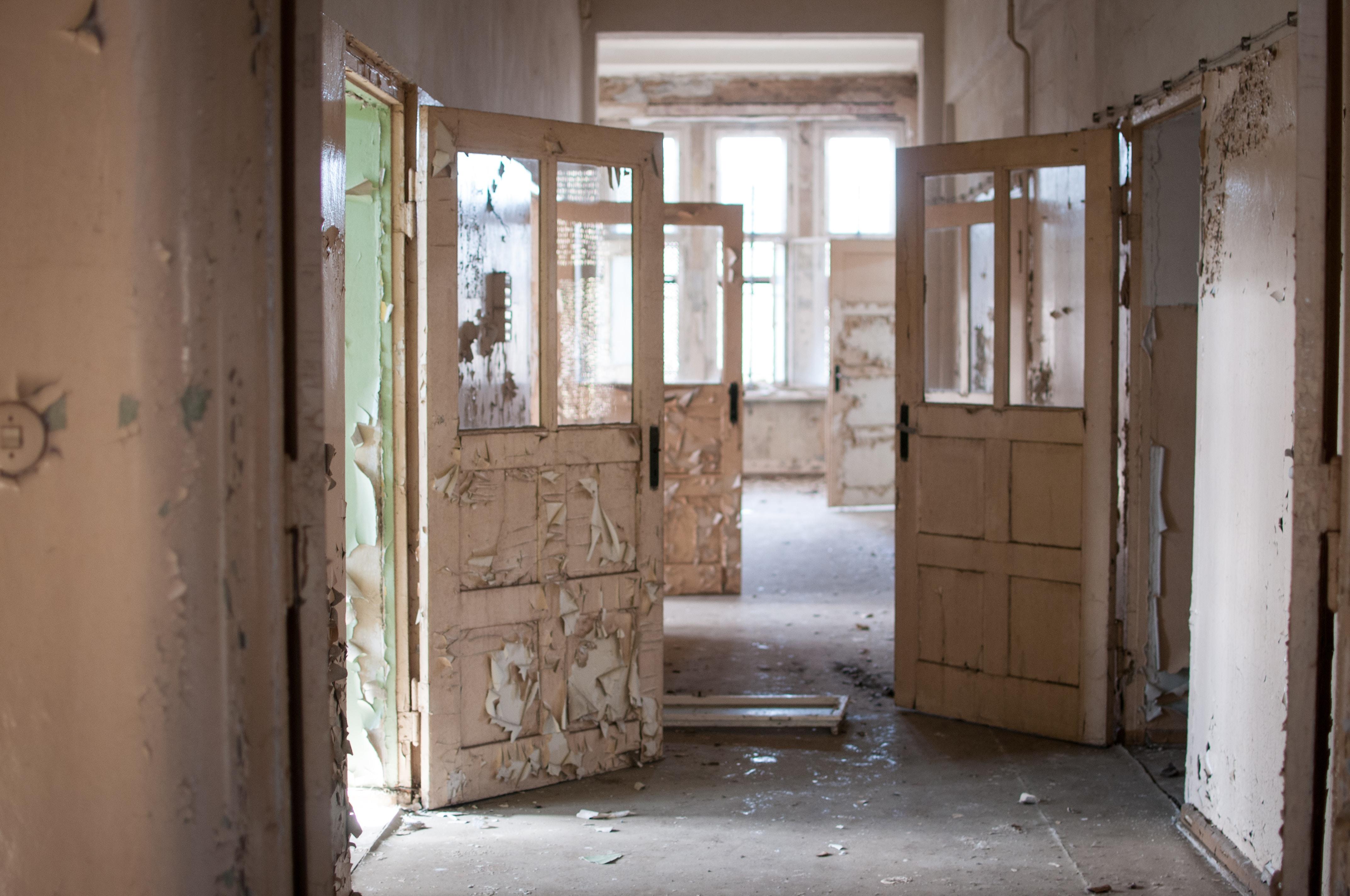 hallway with opened doors