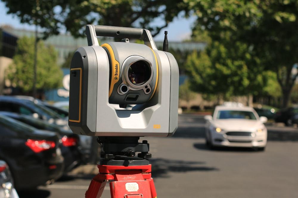 macro shot of gray and yellow surveyor