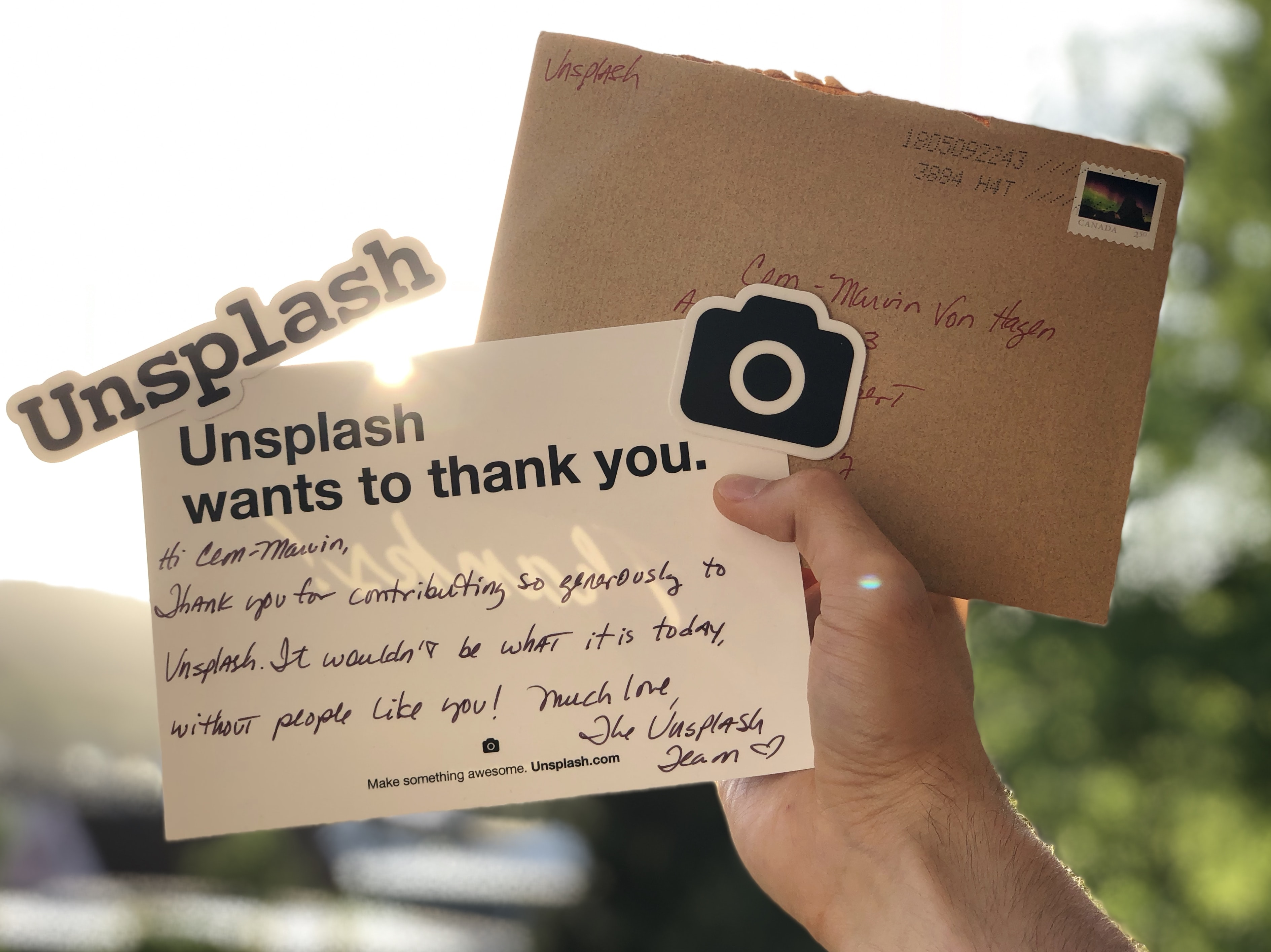 Unsplash wants to thank you signage