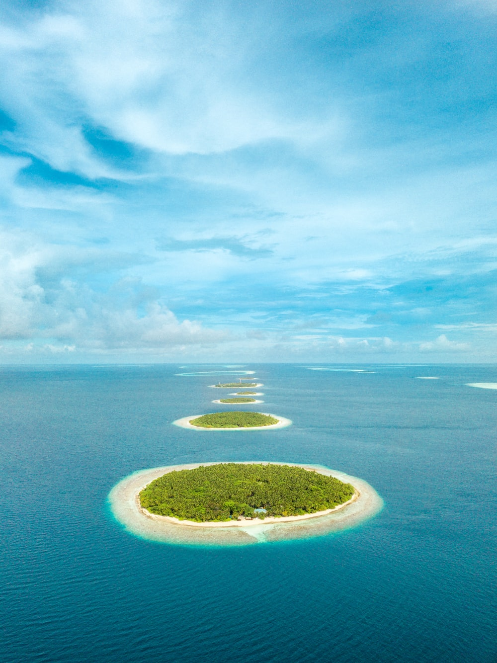 aerial photography of green islets