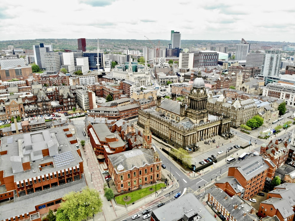 aerial photography of town