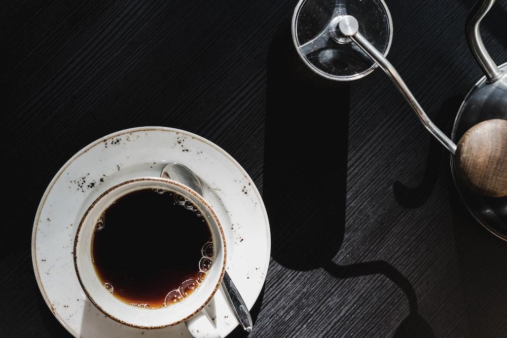 ceramic teacup on saucer