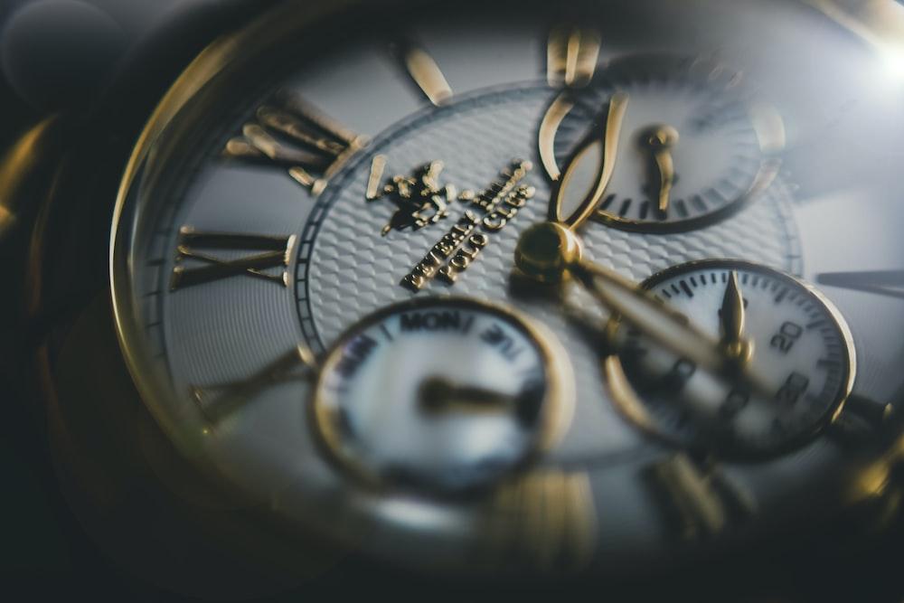 macro shot of chronograph watch