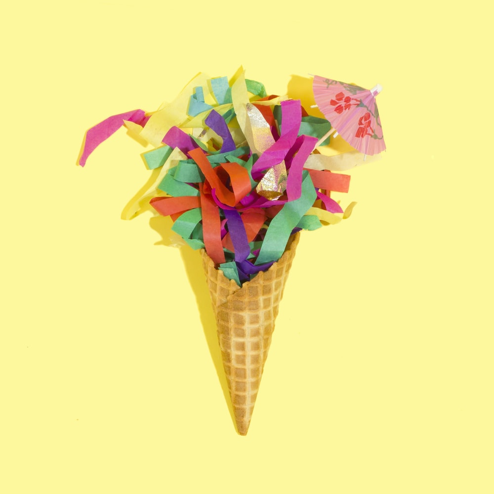 multicolored paper ice cream decor