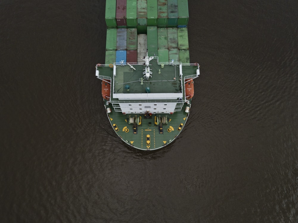 tow view of tanker ship
