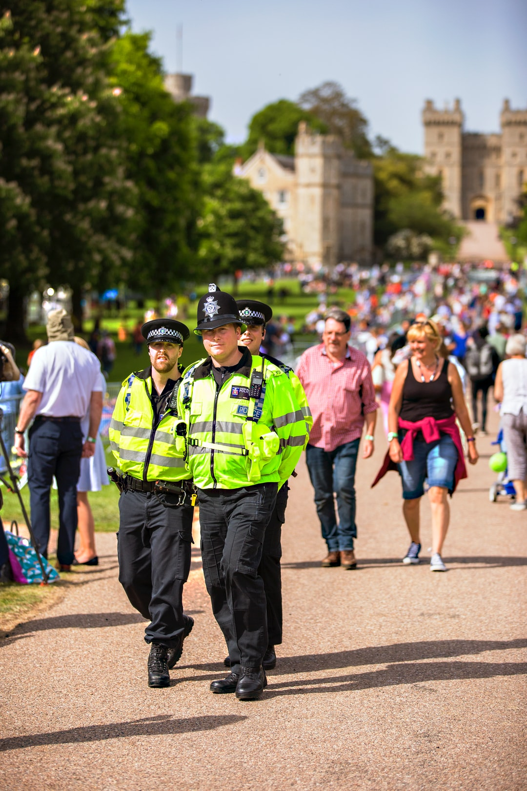 Crowds converging on Windsor to celebrate the Royal Wedding of Prince Harry and Meghan Markle.