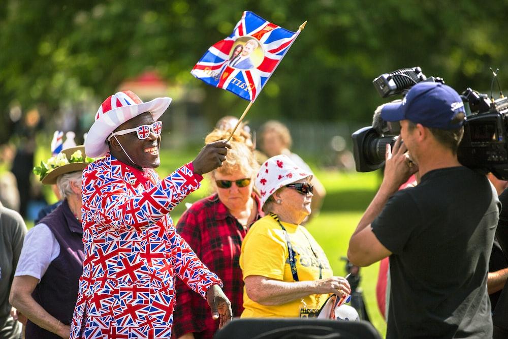 man holding flag