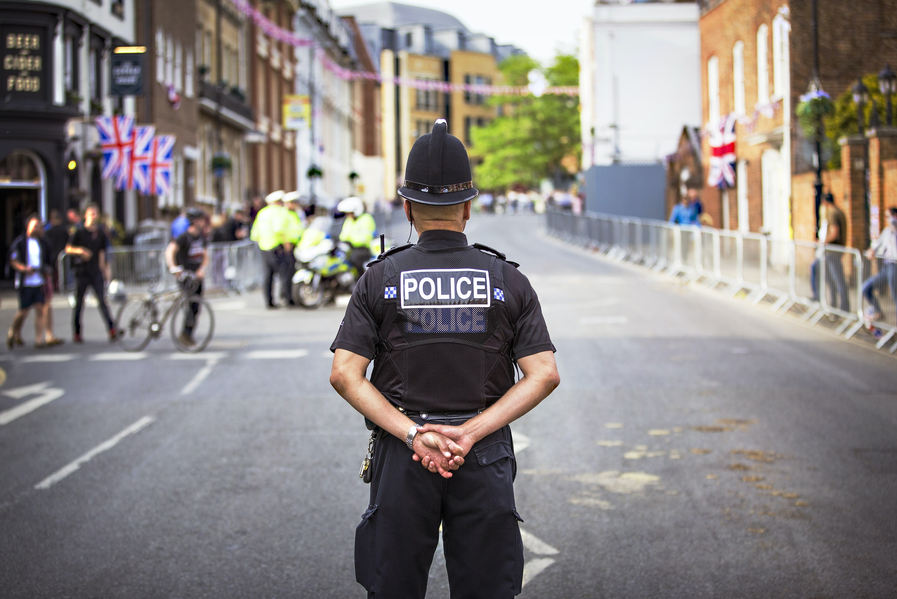 Police standing on road