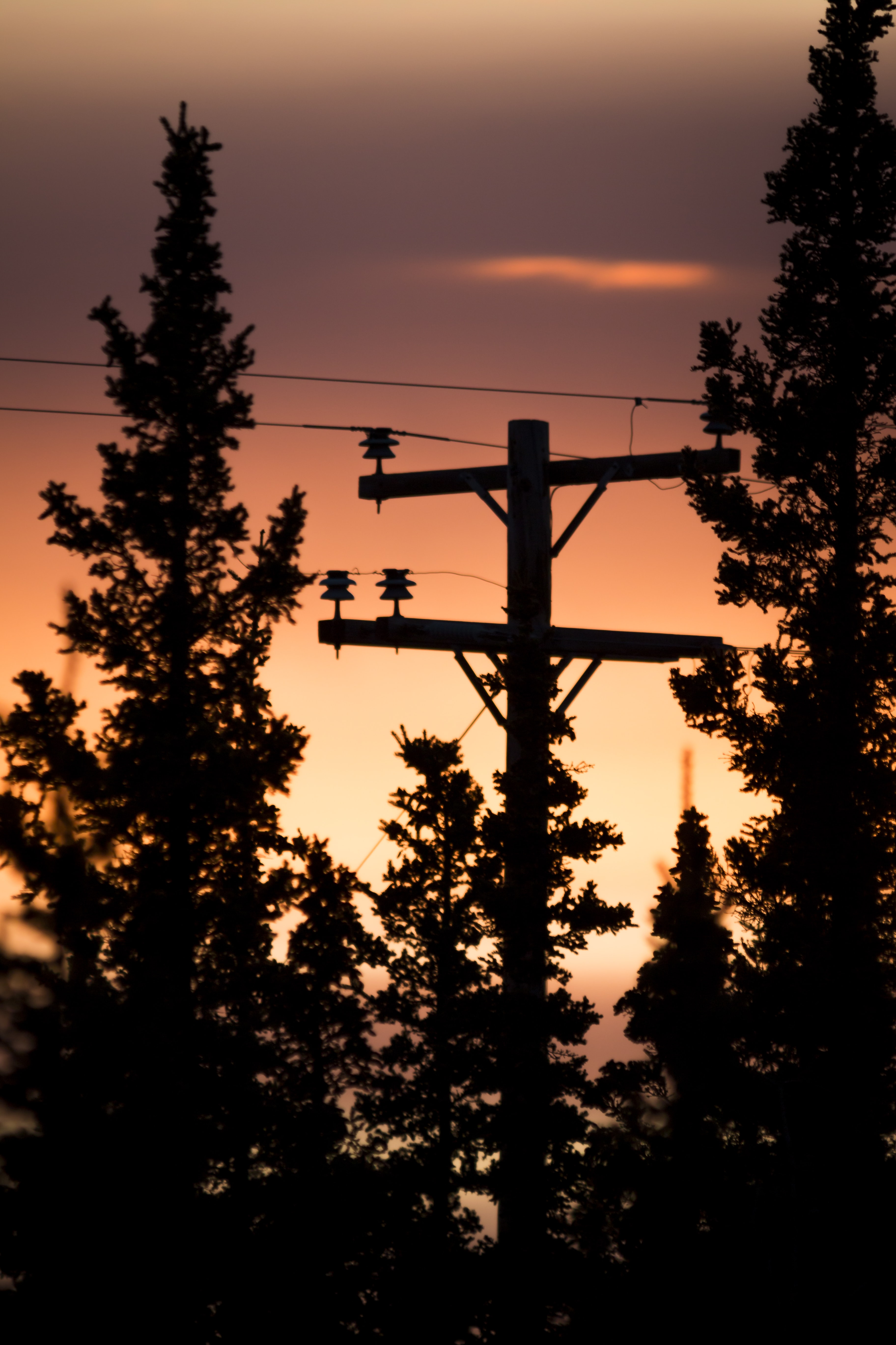 silhouette photograph of black utility post