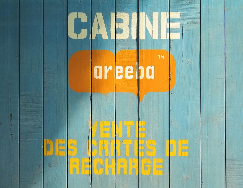 cabine areeba vente des cartes de recharge printed on wooden board