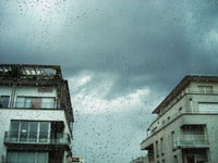 focused photo of glass panel raindrops