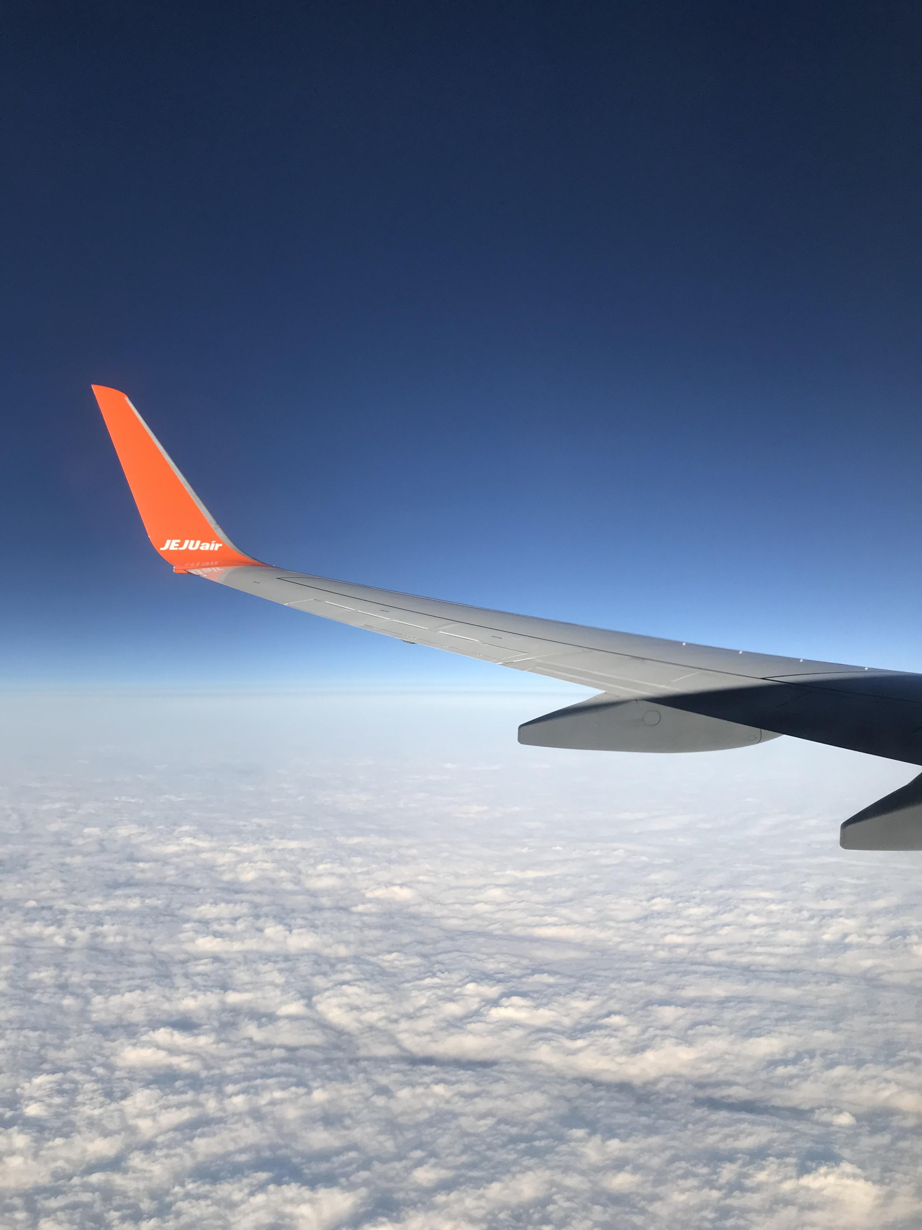 black and gray Jeju Air airplan e
