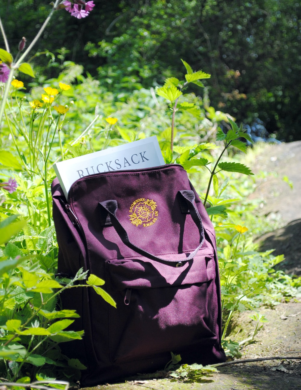 purple leather backpack beside petaled flower