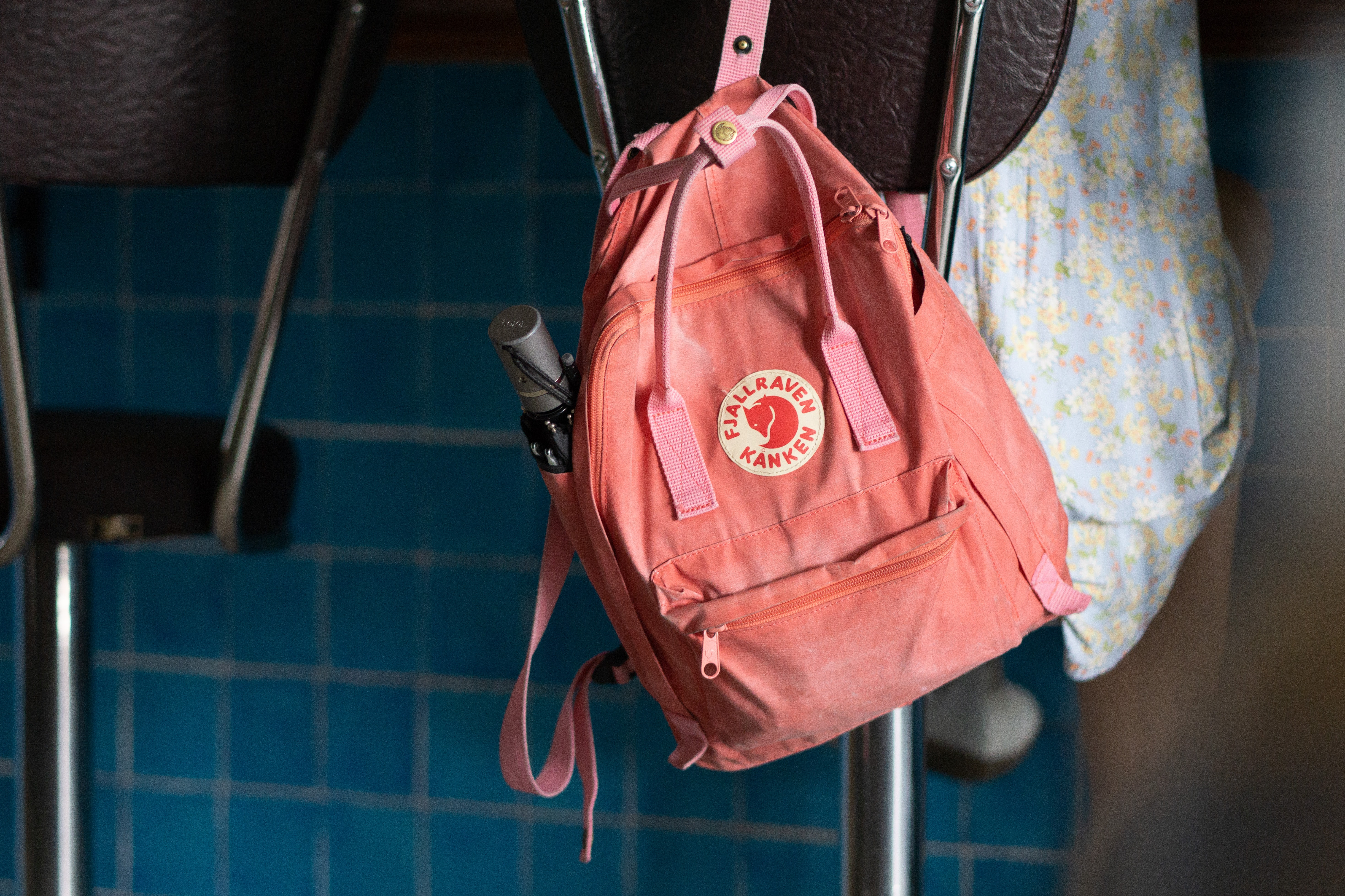 pink and white backpack